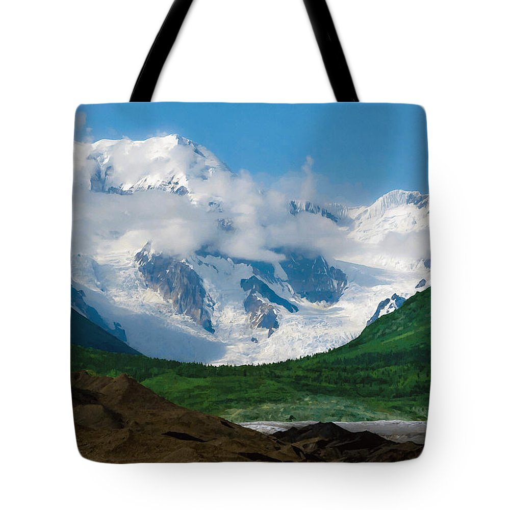 Alaska Tote Bag featuring the digital art In The Valley by Max Steinwald
