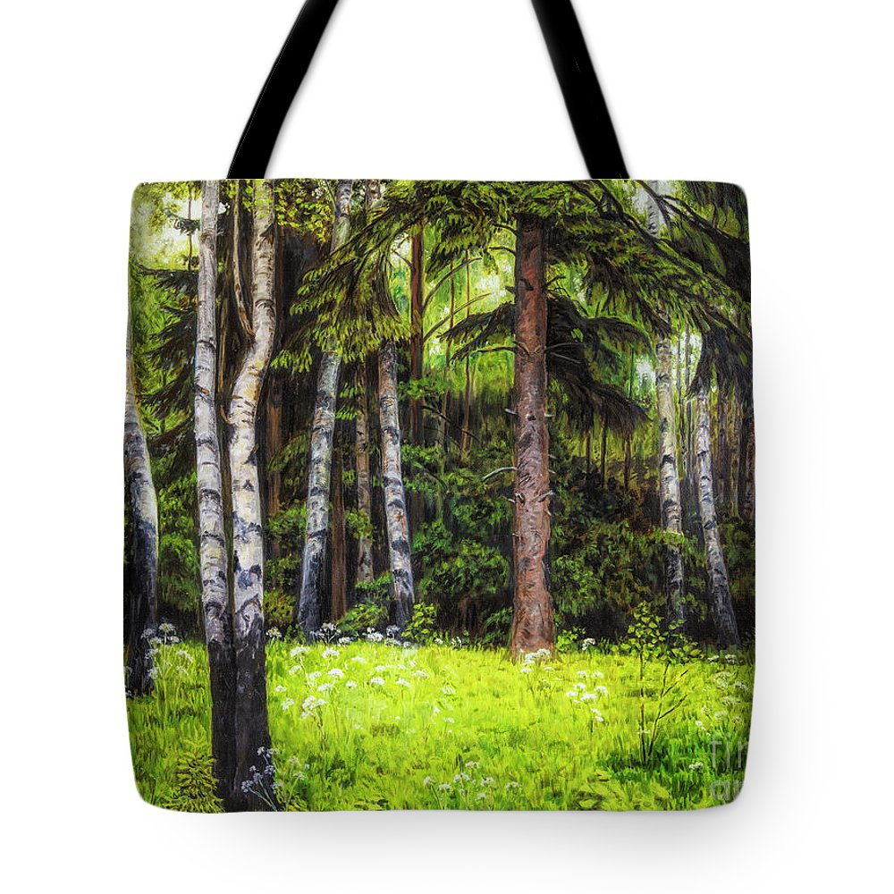 Artist Tote Bag featuring the painting In The Woods by Veikko Suikkanen