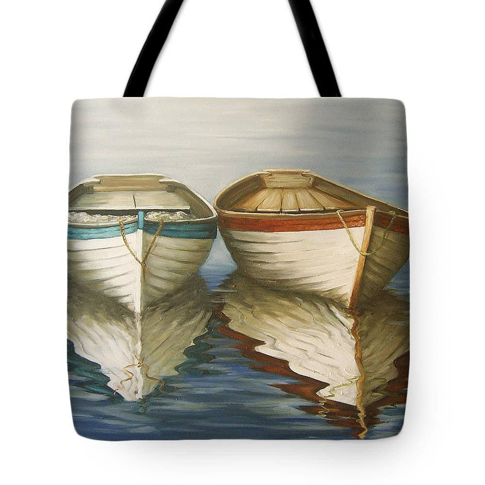 Seascape Ocean Reflection Water Boats Sea Tote Bag featuring the painting In Touch by Natalia Tejera