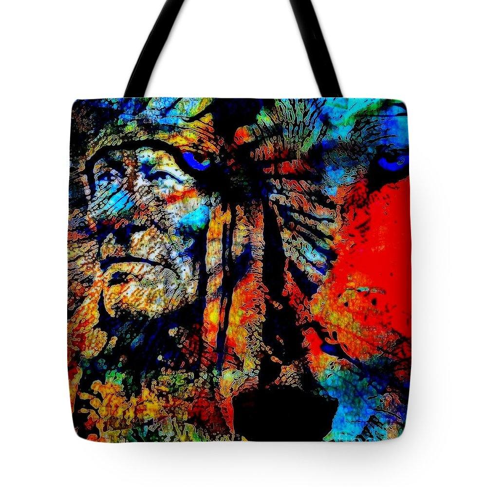 Native Tote Bag featuring the painting In Trance With Wolf by Wbk