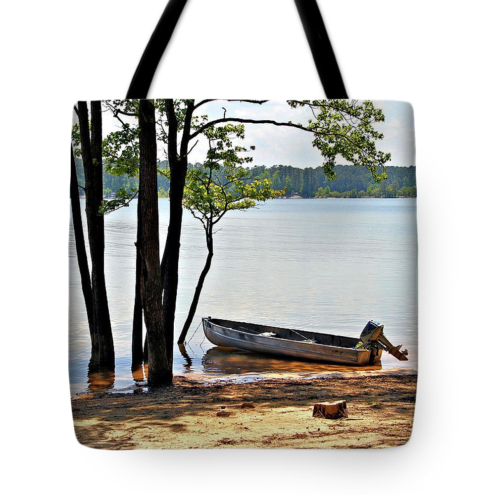 Fishing Tote Bag featuring the photograph In Wait by John Lewis