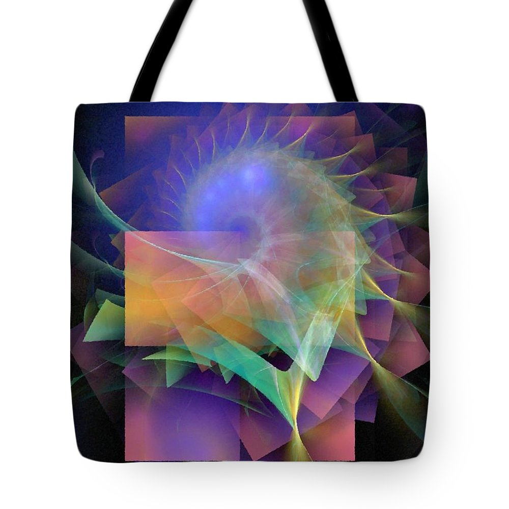 Abstract Tote Bag featuring the digital art In What Far Place by NirvanaBlues