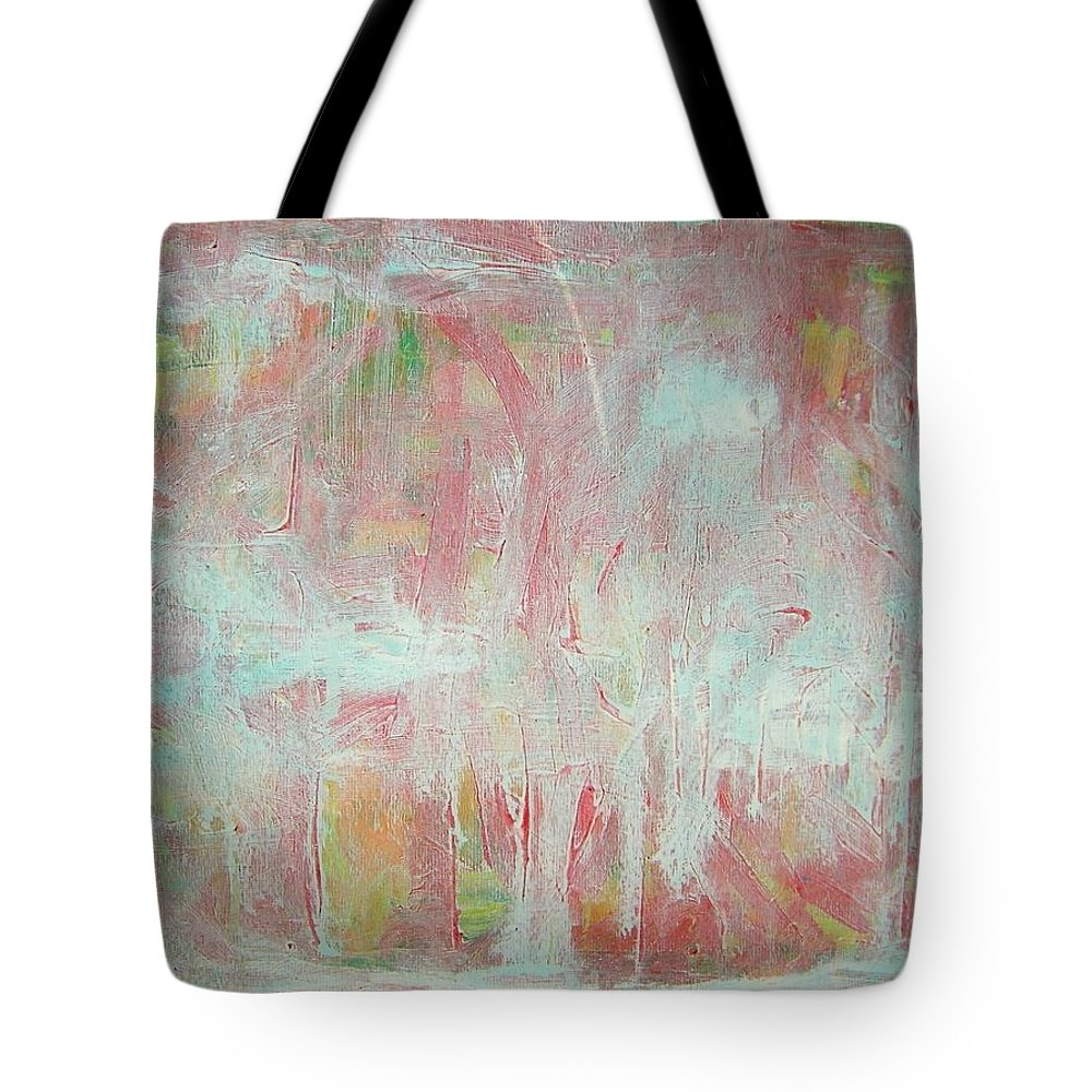 Abstract Tote Bag featuring the painting In Winter--the Nowhere Forest by Judith Redman