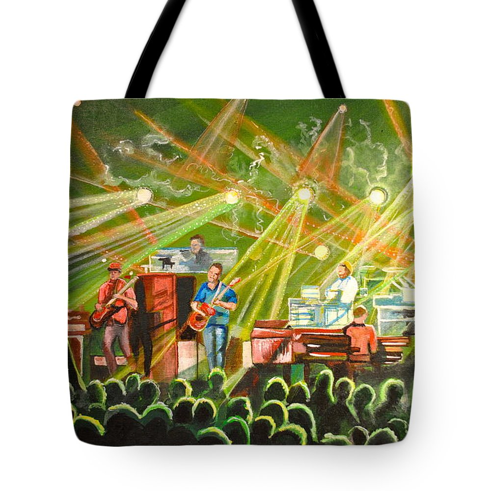 Umphrey's Mcgee Tote Bag featuring the painting In With The Um Crowd by Patricia Arroyo