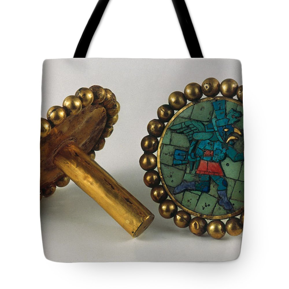 3rd Century Tote Bag featuring the photograph Inca Earrings by Granger