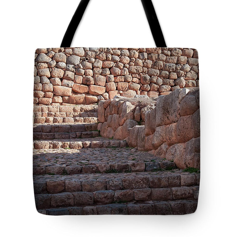 Chinchero Site Tote Bag featuring the photograph Inca Steps At Chinchero by Bob Phillips