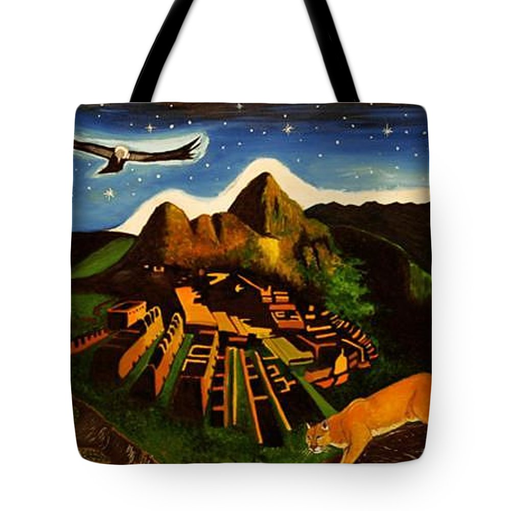 Machu Picchu Tote Bag featuring the painting Inca's Trilogy by Gustavo Oliveira