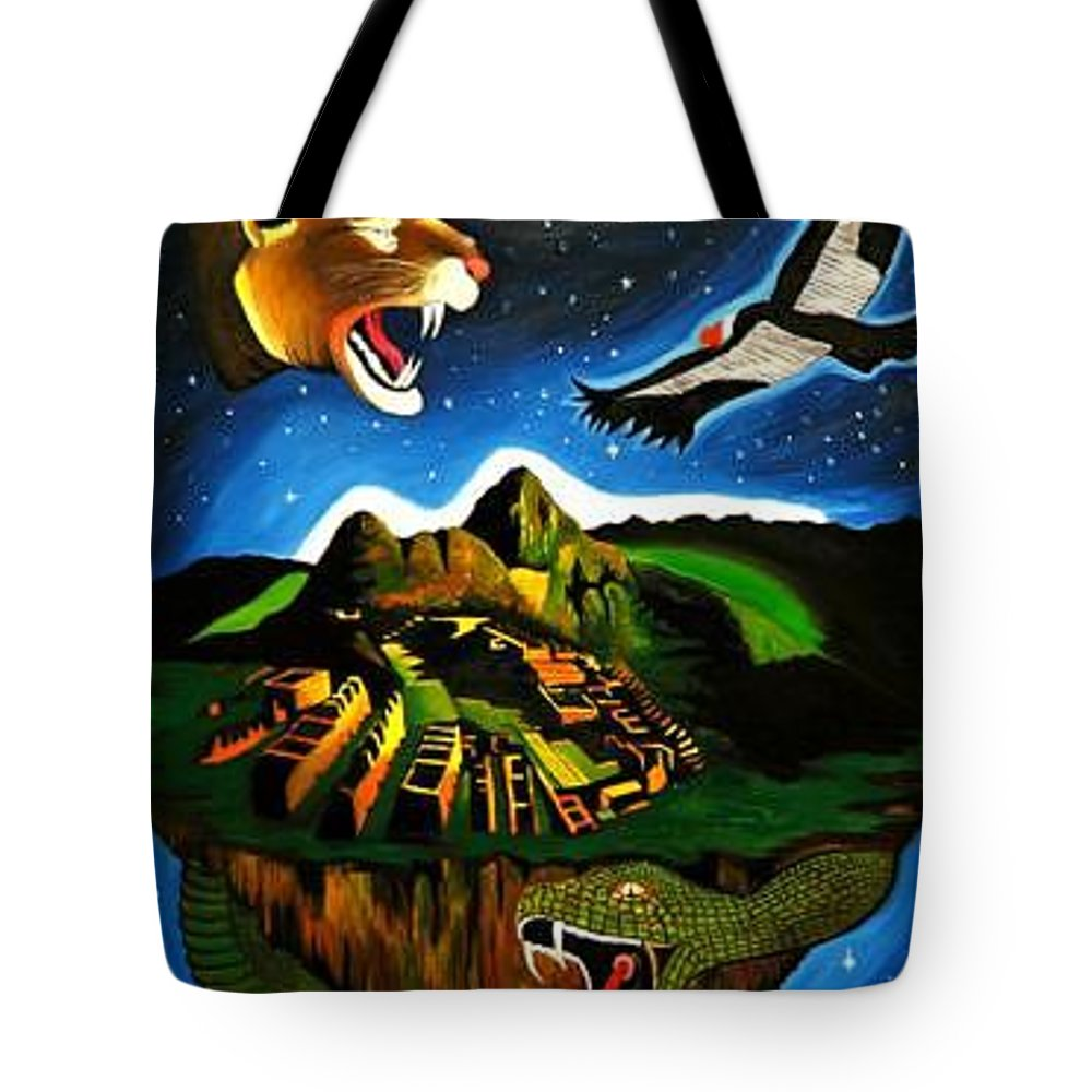 Machu Picchu Tote Bag featuring the painting Inca's Trilogy II by Gustavo Oliveira