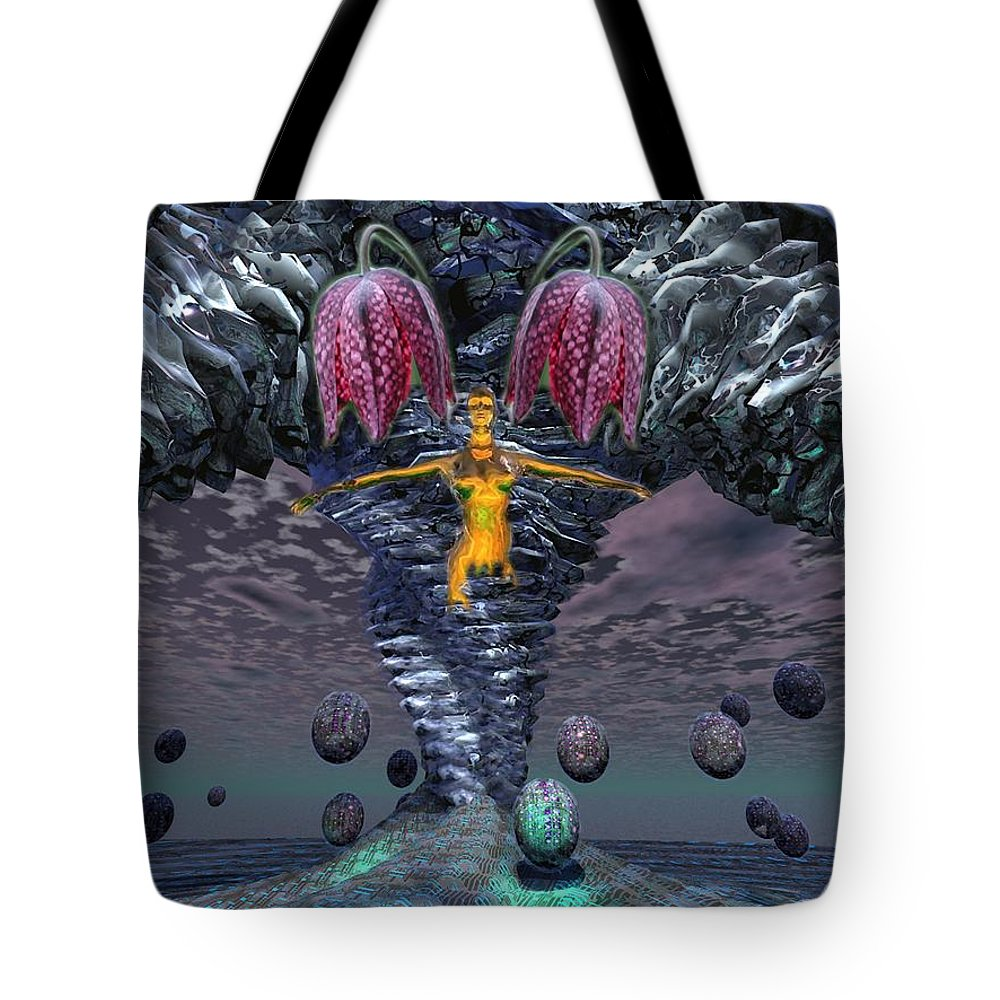 3d Computer Nude Woman Gold Fantasty Tote Bag featuring the digital art Incoming by Dave Martsolf