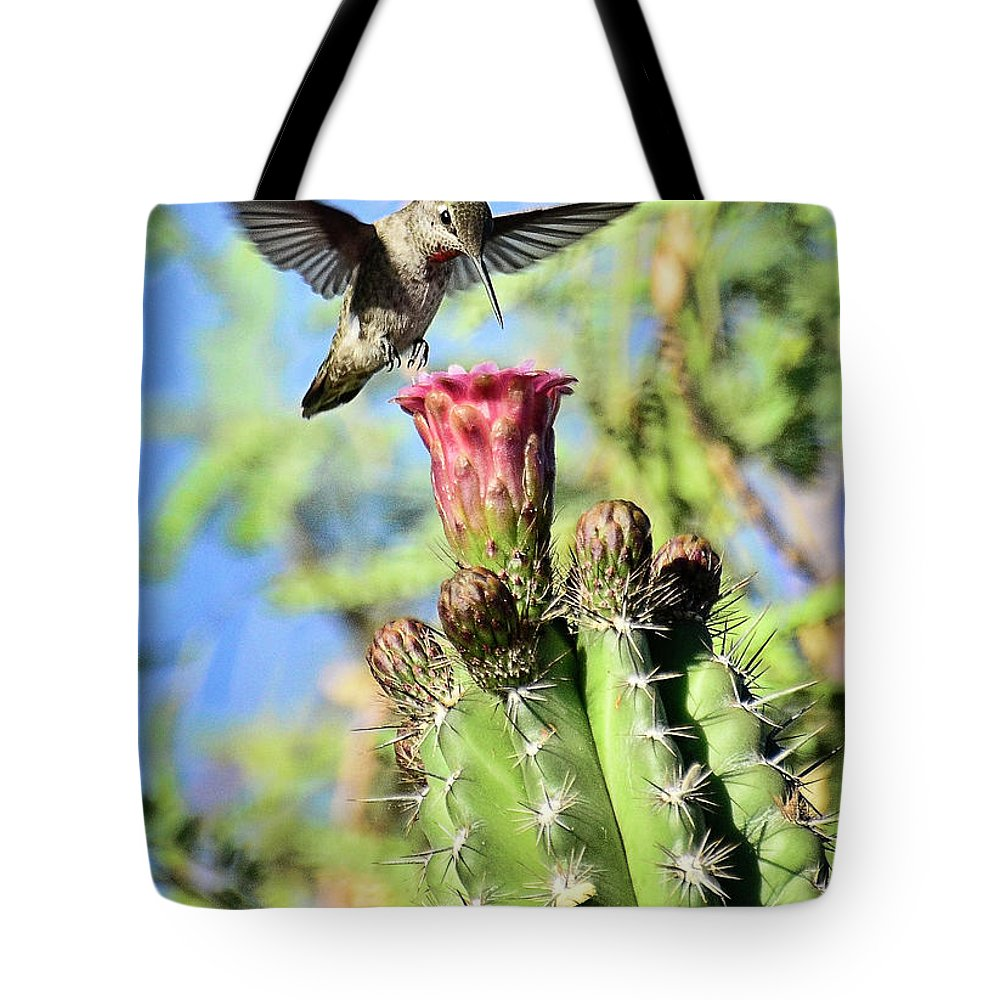 Hummingbird Tote Bag featuring the photograph Incoming by Saija Lehtonen