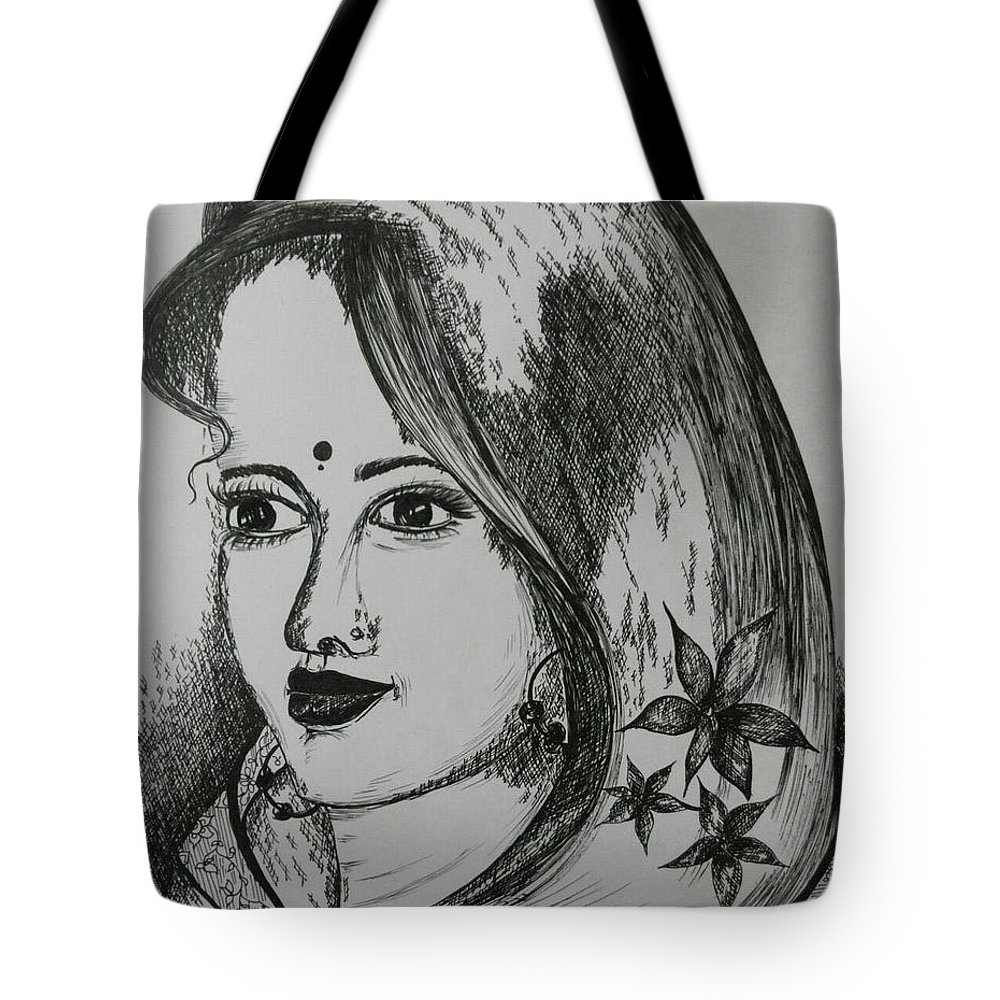 Women Tote Bag featuring the drawing Indian Beauty by Pushpa Sharma