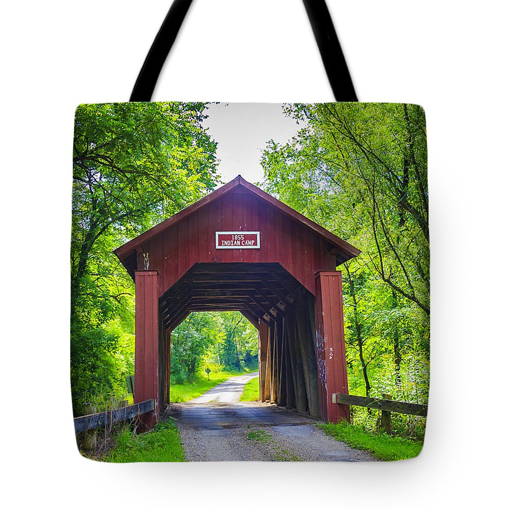 America Tote Bag featuring the photograph Indian Camp Covered Bridge by Jack R Perry