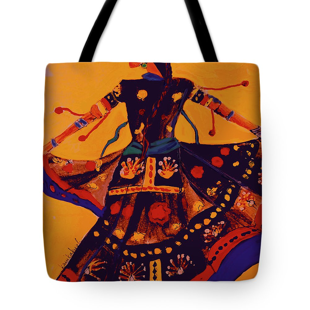 Handmade Paintings Tote Bag featuring the painting Indian Dancer, Folk  Dancer Of India, Rajasthani e590d8a14f