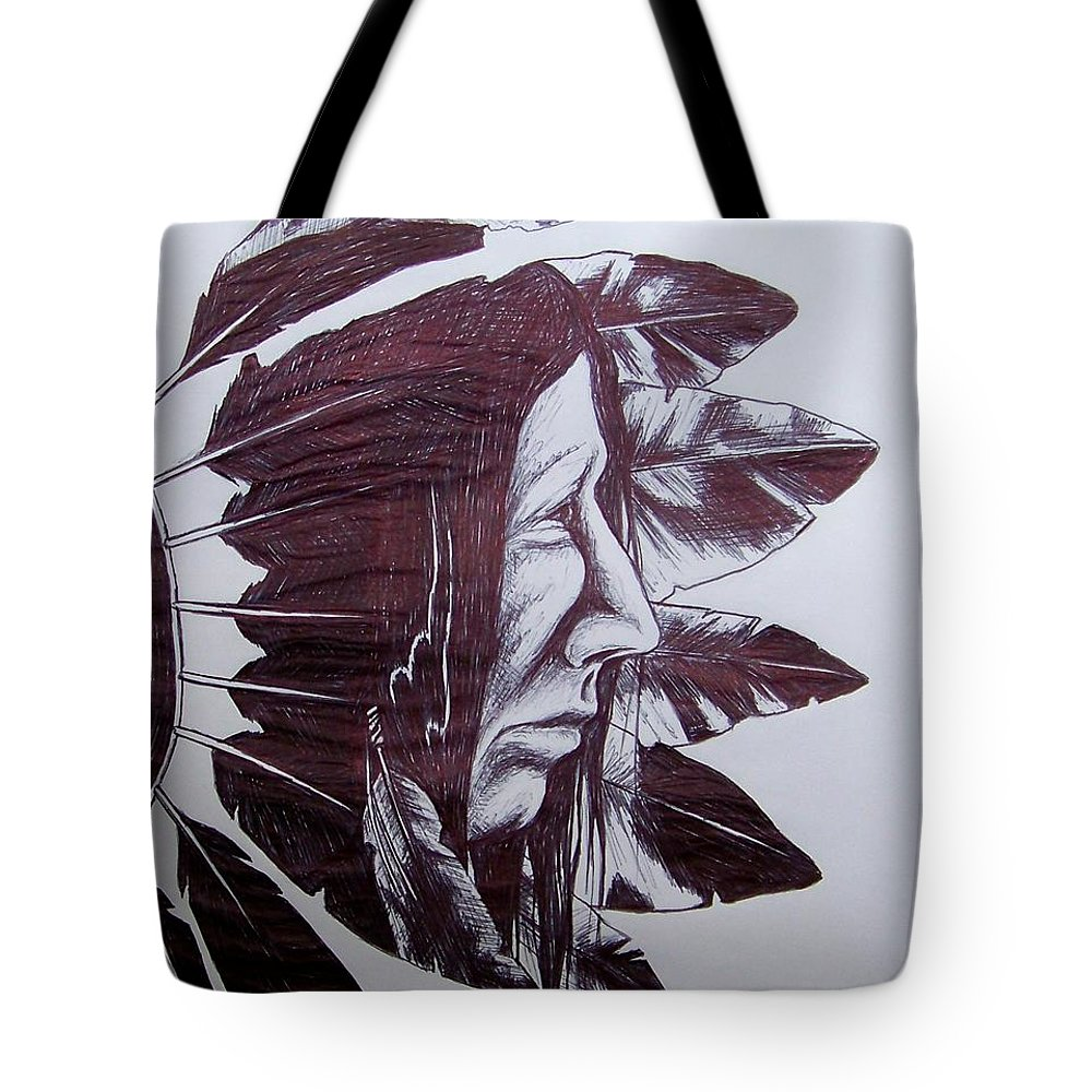 Indian Feathers Tote Bag featuring the drawing Indian Feathers by Michael TMAD Finney