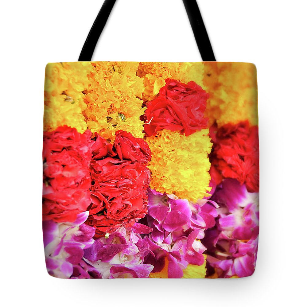 India Tote Bag featuring the photograph Indian Flower Garland by Delphimages Photo Creations