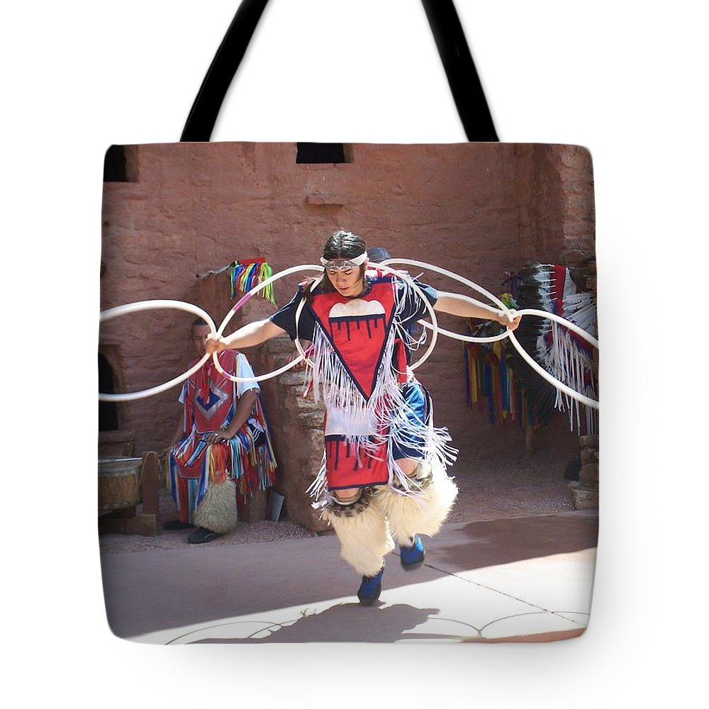 Indian Dancer Tote Bag featuring the photograph Indian Hoop Dancer by Anita Burgermeister