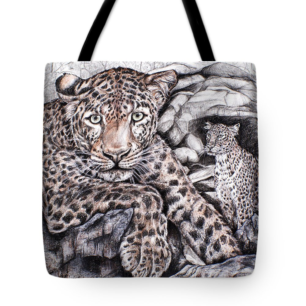 Leopard Tote Bag featuring the drawing Indian Leopard by Trish Taylor Ponappa