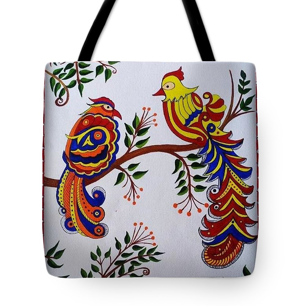 9f803fbc52 Indian Madhubani Painting Colorful Birds Tote Bag for Sale by Dhanashree  Mahesh