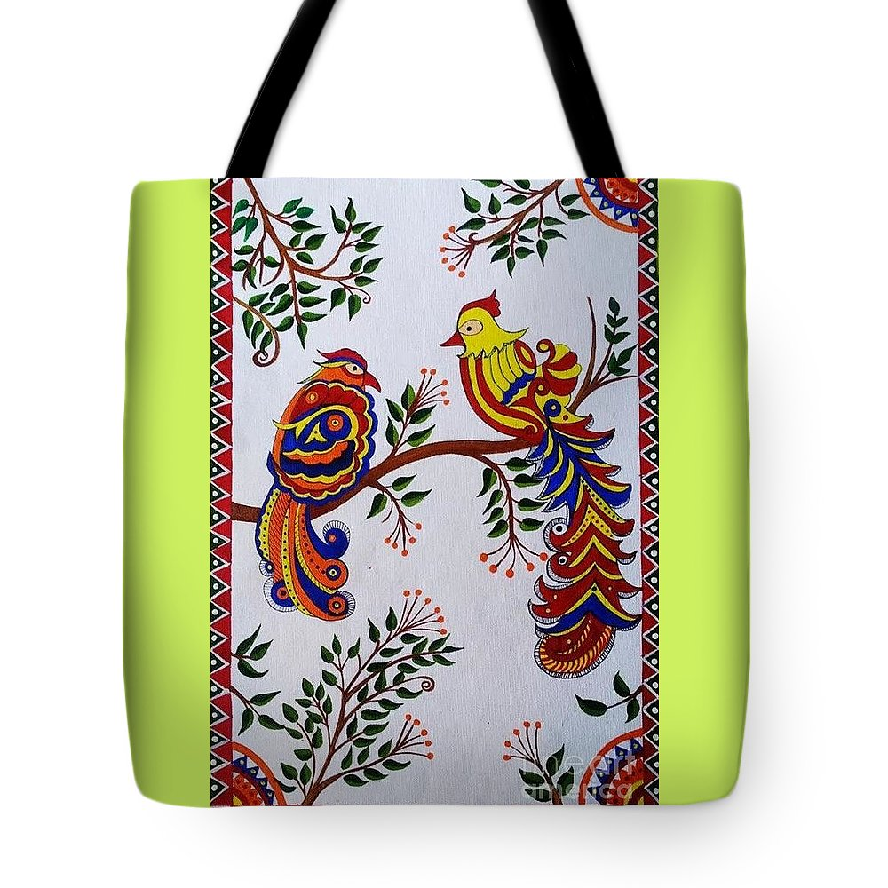 9f803fbc52 Indian Madhubani Painting Colorful Birds Tote Bag for Sale by Dhanashree  Mahesh