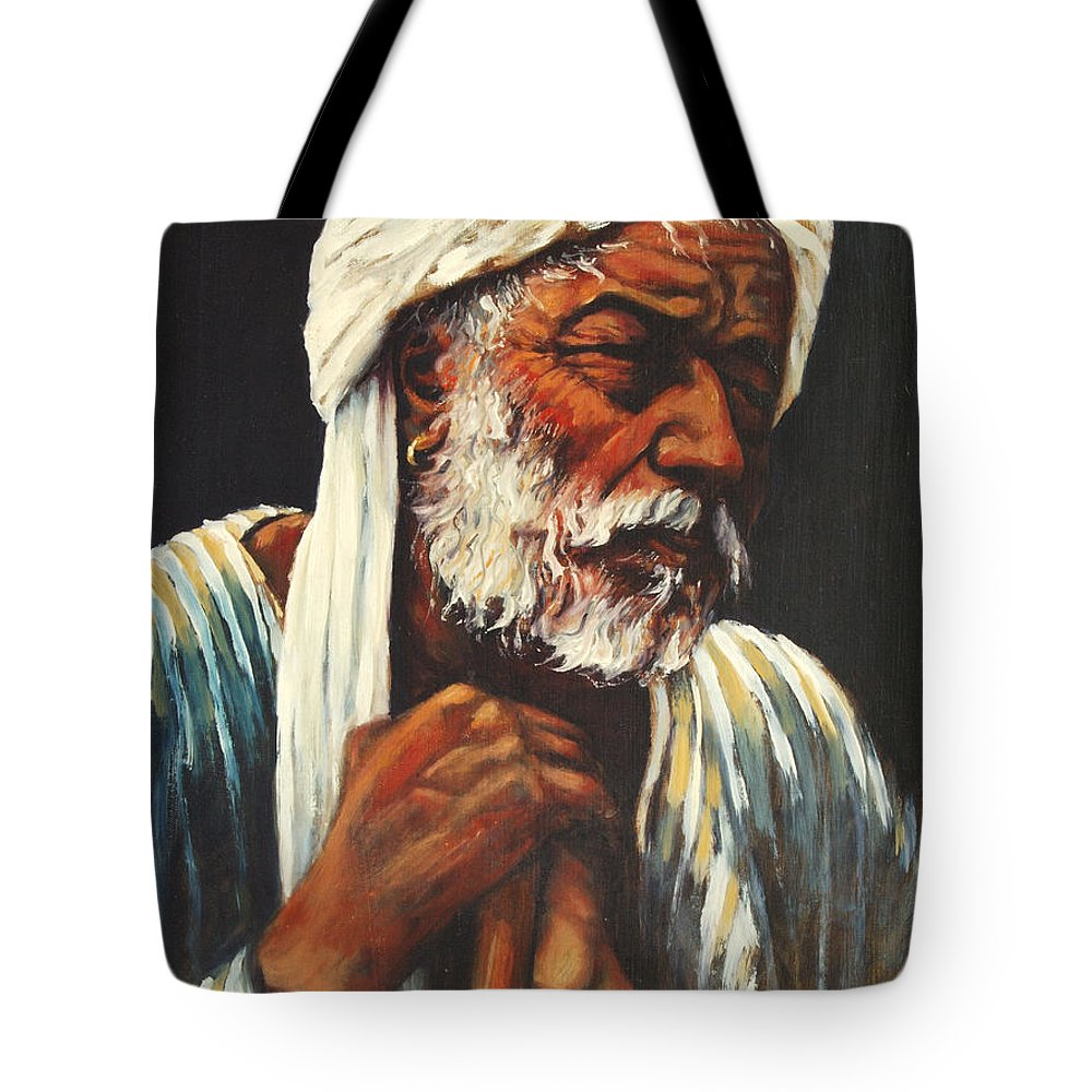 India Tote Bag featuring the painting Indian Man by Rick Nederlof