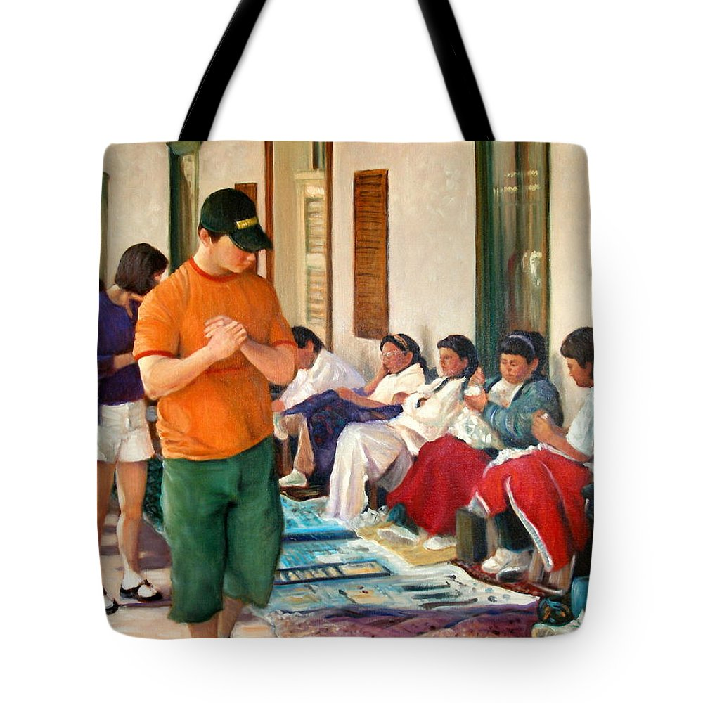 Realism Tote Bag featuring the painting Indian Market by Donelli DiMaria
