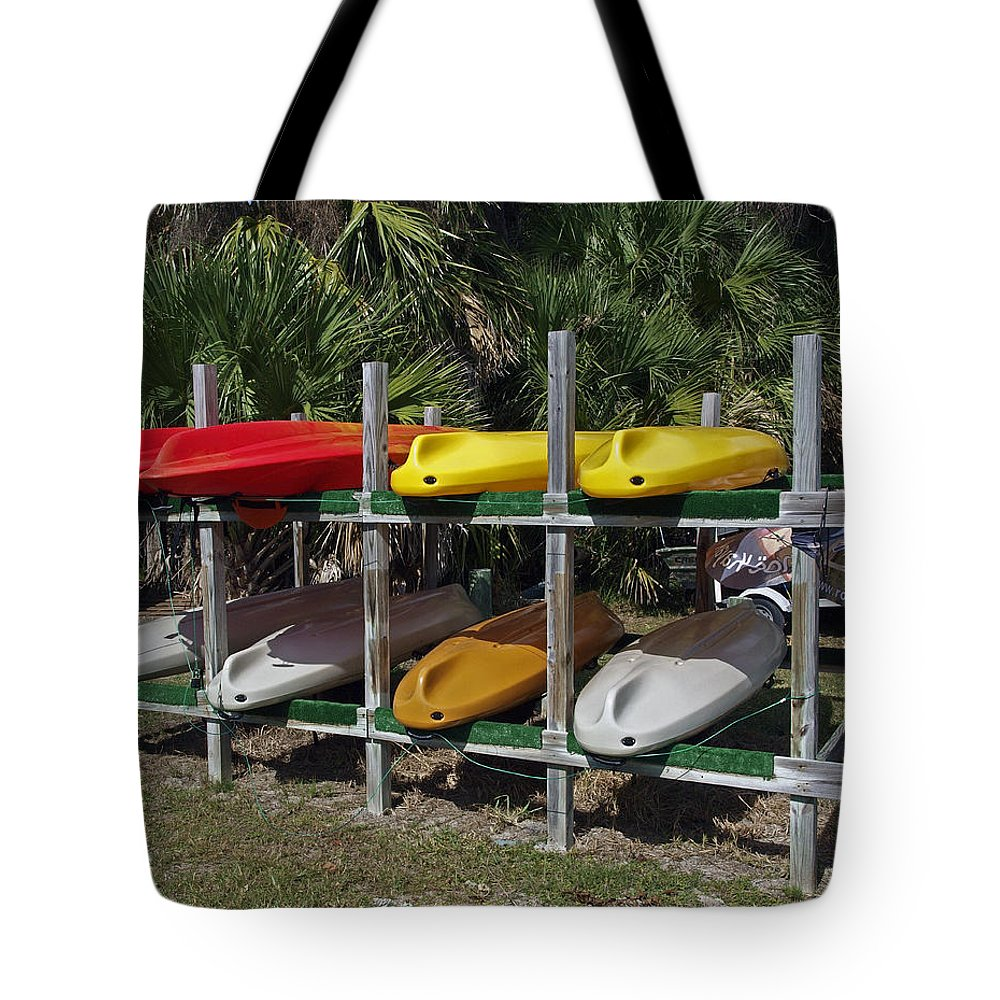 Kayak Tote Bag featuring the photograph Indian River In Florida by Allan Hughes