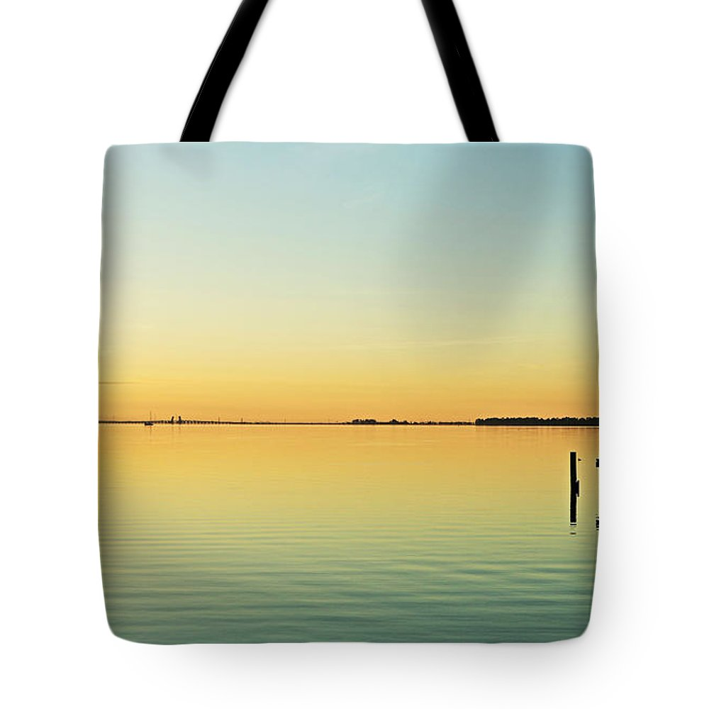 Looking Se From The Sea Wall Across The Dock. Tote Bag featuring the photograph Indian River Lagoon by Jeryl Moore