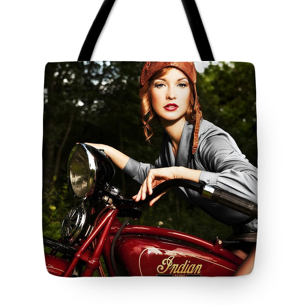 Indian Tote Bag featuring the photograph Indian Scout by Matt Haig