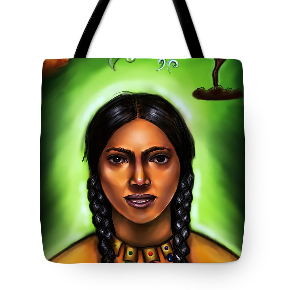 Indian Woman Tote Bag featuring the jewelry Indian Spirit by Carmen Cordova