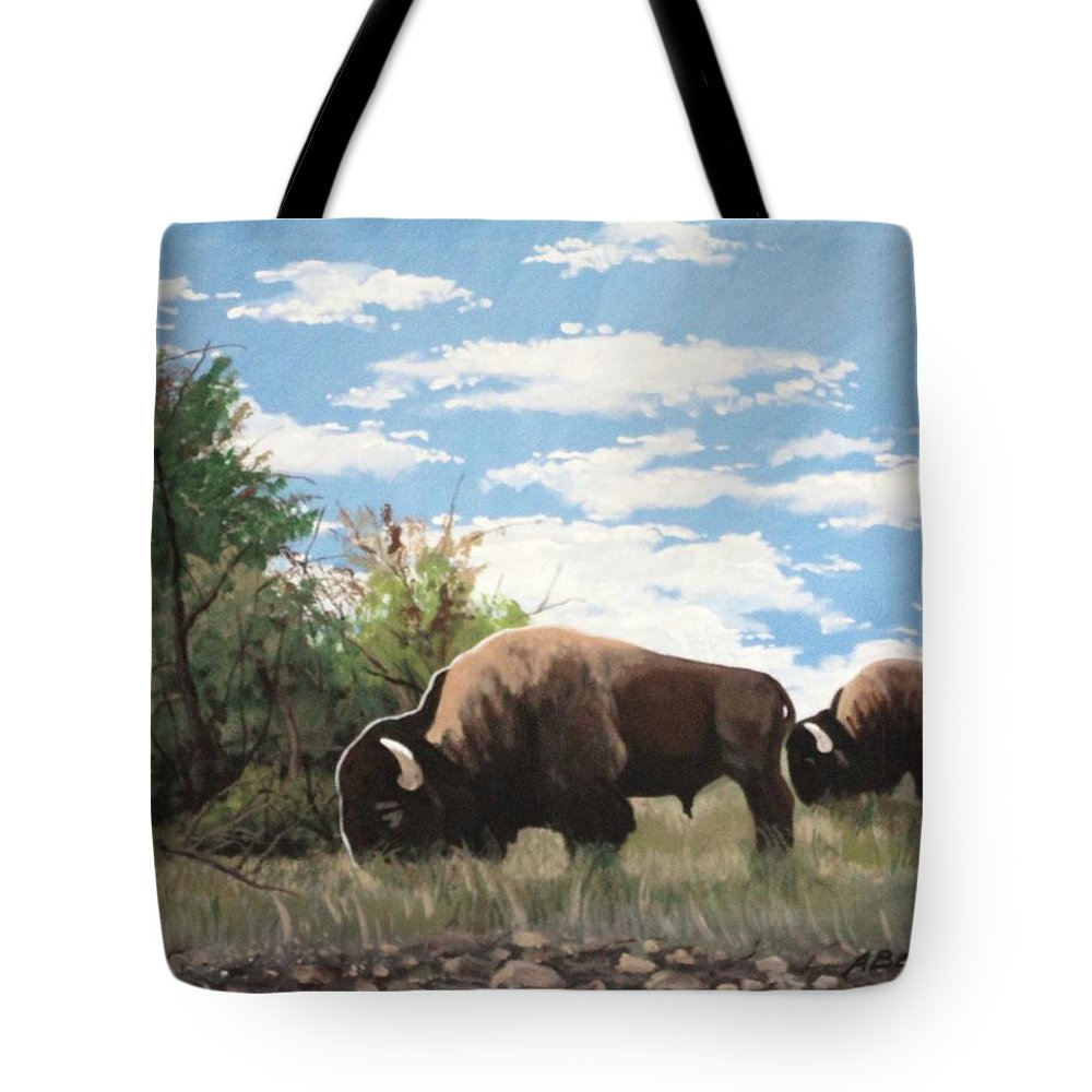 Landscape Tote Bag featuring the painting Indian Summer by Anthony Bear