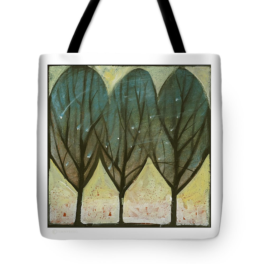 Trees Tote Bag featuring the painting Indian Summer Snow by Tim Nyberg