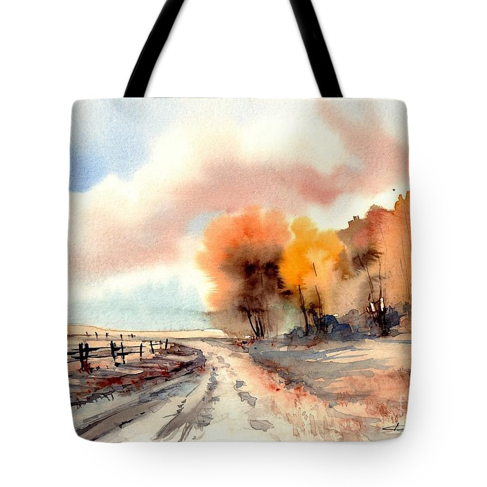 Village Tote Bag featuring the painting Indian Summer by Suzann Sines