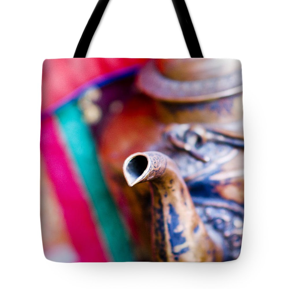 Ancient Tote Bag featuring the photograph Indian Tea Kettle by Ray Laskowitz - Printscapes