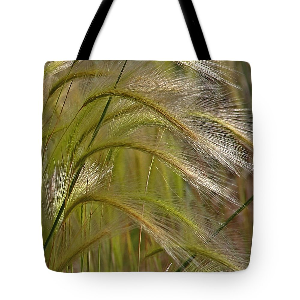 Grass Tote Bag featuring the photograph Indiangrass Swaying Softly With The Wind by Christine Till