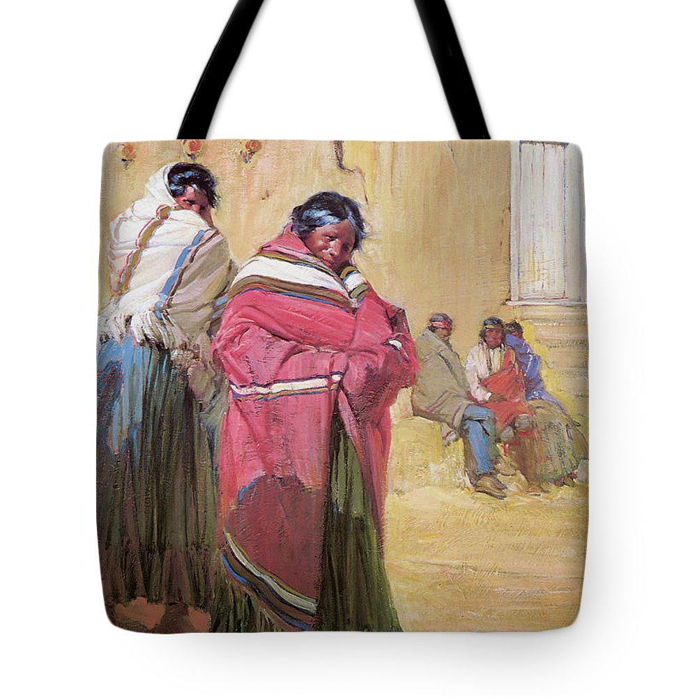 Gerald Cassidy Tote Bag featuring the photograph Indians Outside Taos Pueble by Gerald Cassidy