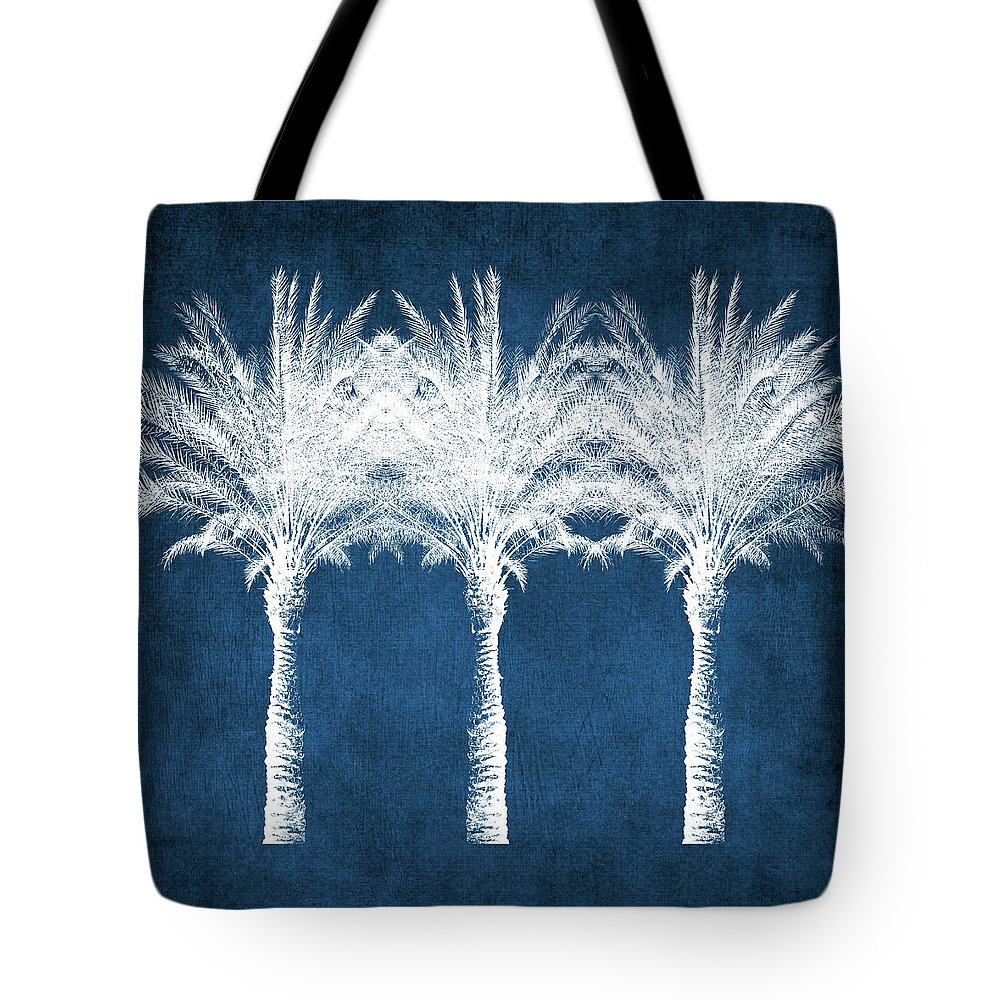 Palm Tree Tote Bag featuring the mixed media Indigo And White Palm Trees- Art by Linda Woods by Linda Woods