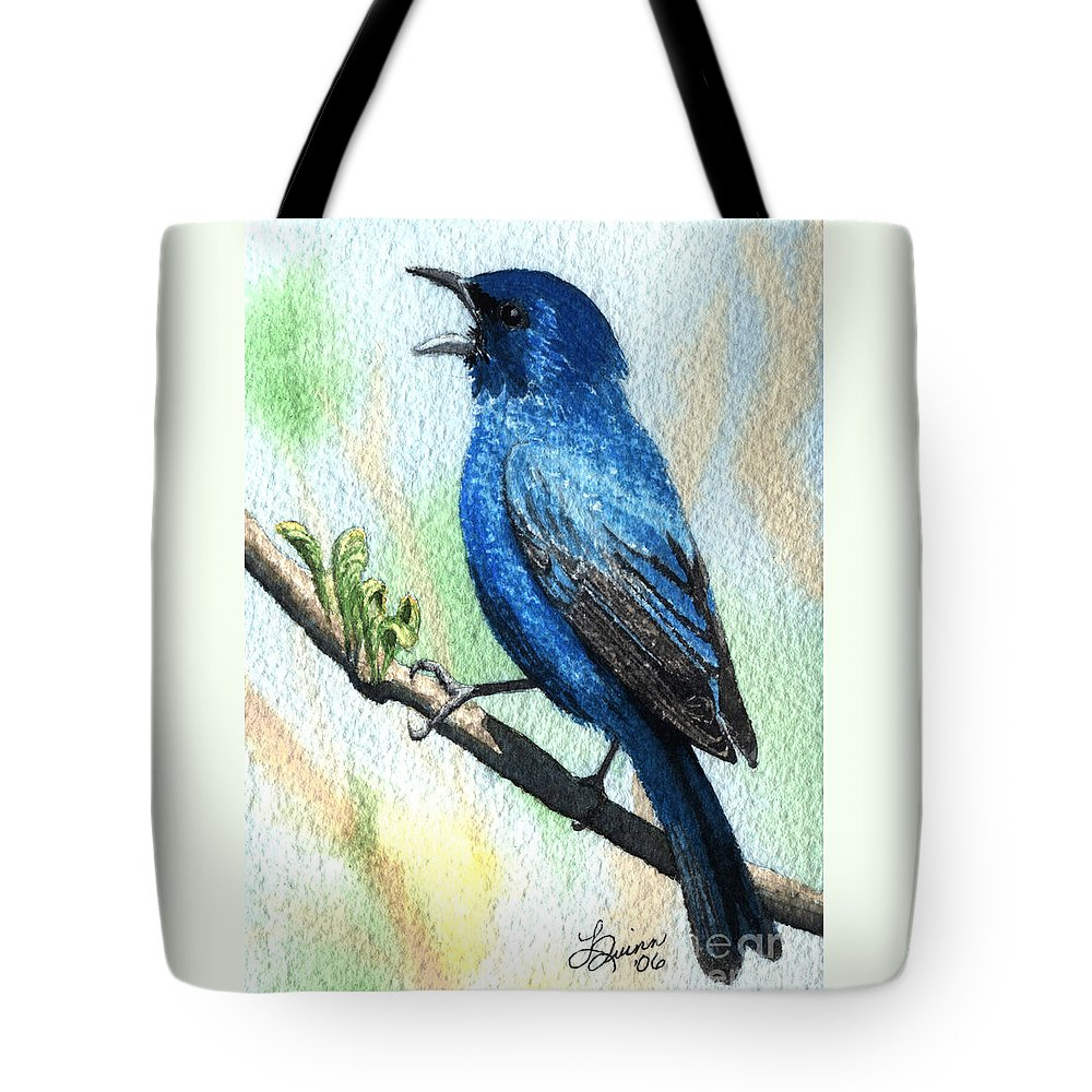 Bird Tote Bag featuring the painting Indigo Bunting by Lynn Quinn