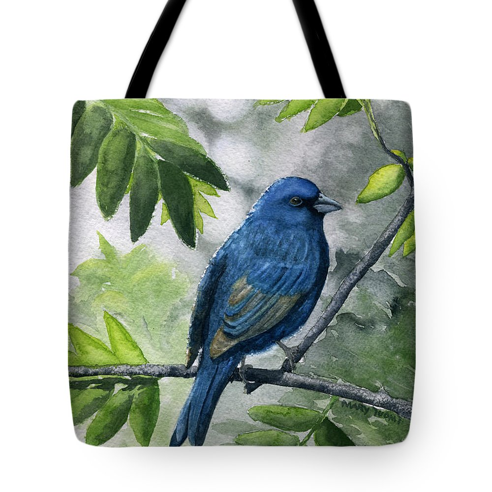 Blue Tote Bag featuring the painting Indigo Bunting by Mary Tuomi