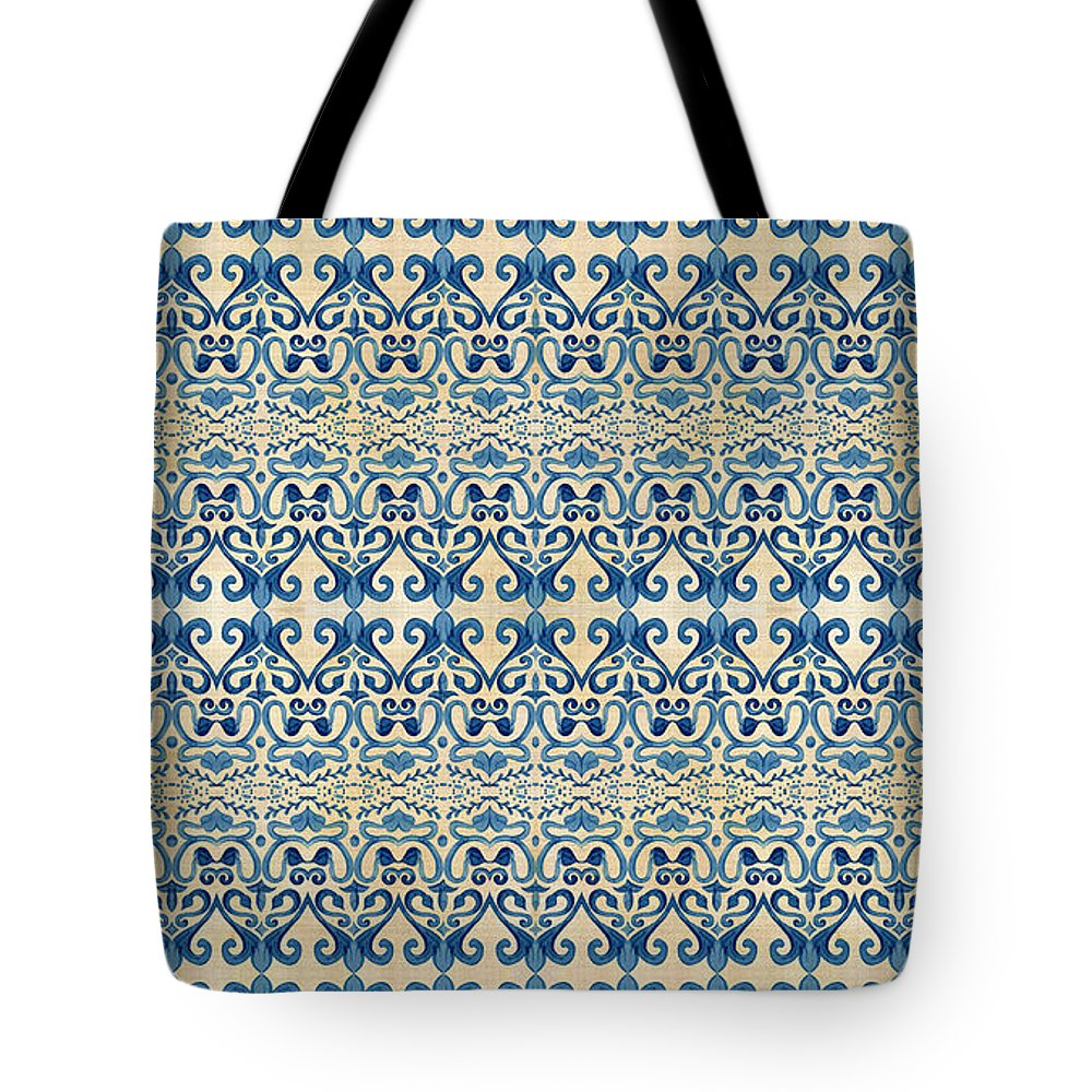 Repeat Pattern Tote Bag featuring the painting Indigo Ocean - Caribbean Tile Inspired Watercolor Swirl Pattern by Audrey Jeanne Roberts