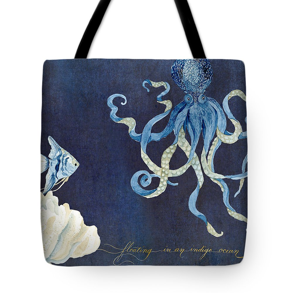 Octopus Tote Bag featuring the painting Indigo Ocean - Floating Octopus by Audrey Jeanne Roberts