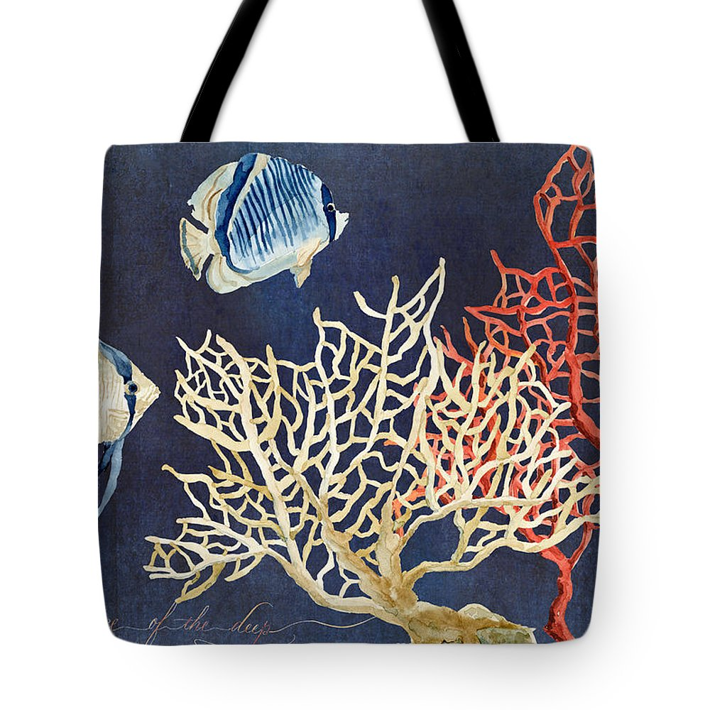 Red Fan Coral Tote Bag featuring the painting Indigo Ocean - Silence Of The Deep by Audrey Jeanne Roberts