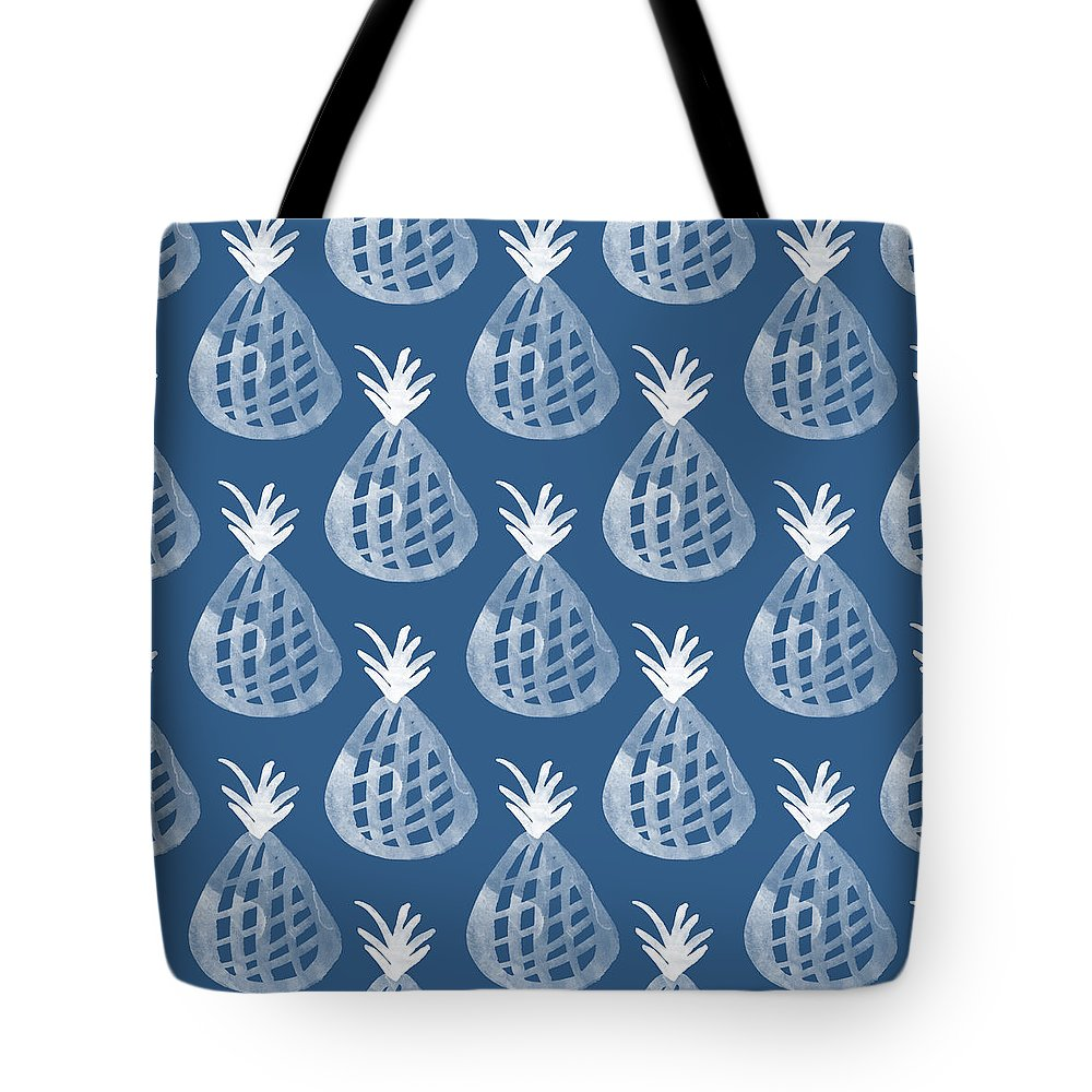 Indigo Tote Bag featuring the mixed media Indigo Pineapple Party by Linda Woods