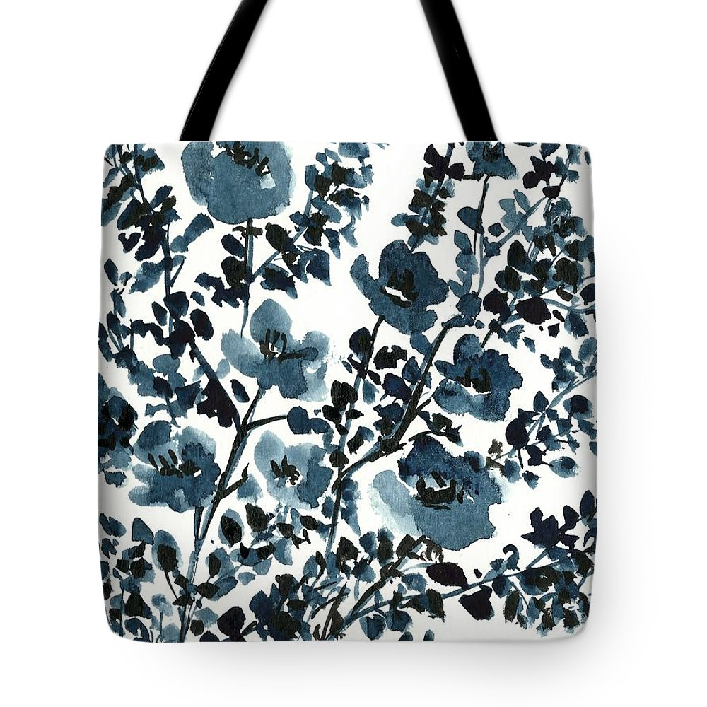 Silhouette Flowers Tote Bag featuring the painting Indigo's Shadow by Garima Srivastava