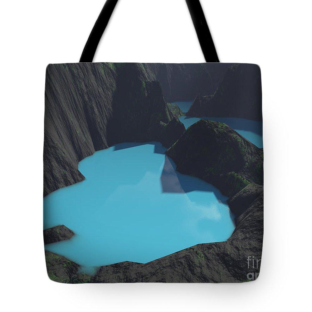 Basalt Tote Bag featuring the digital art Indonesian Crater Lakes by Gaspar Avila