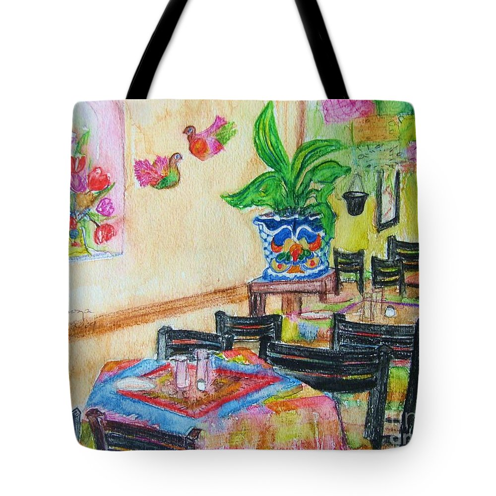 Watercolor Tote Bag featuring the painting Indoor Cafe - Gifted by Judith Espinoza