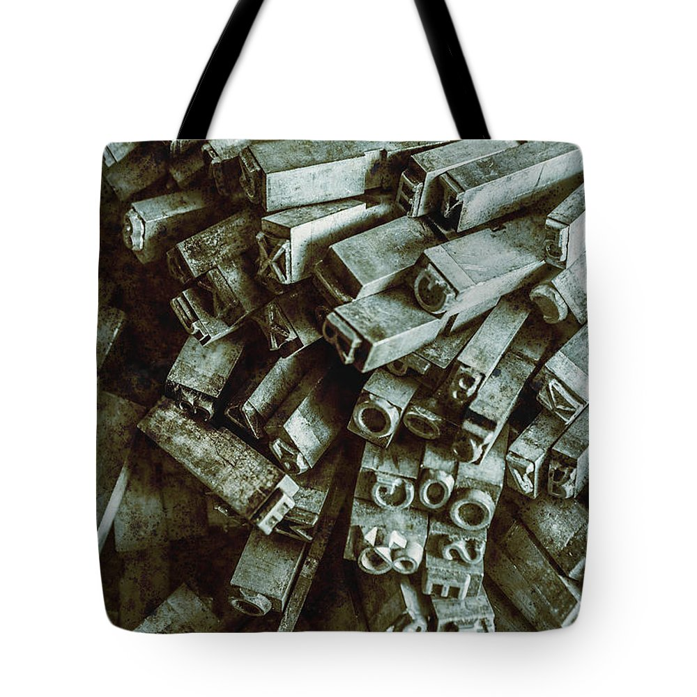 Old Tote Bag featuring the photograph Industrial Letterpress Typeset by Jorgo Photography - Wall Art Gallery
