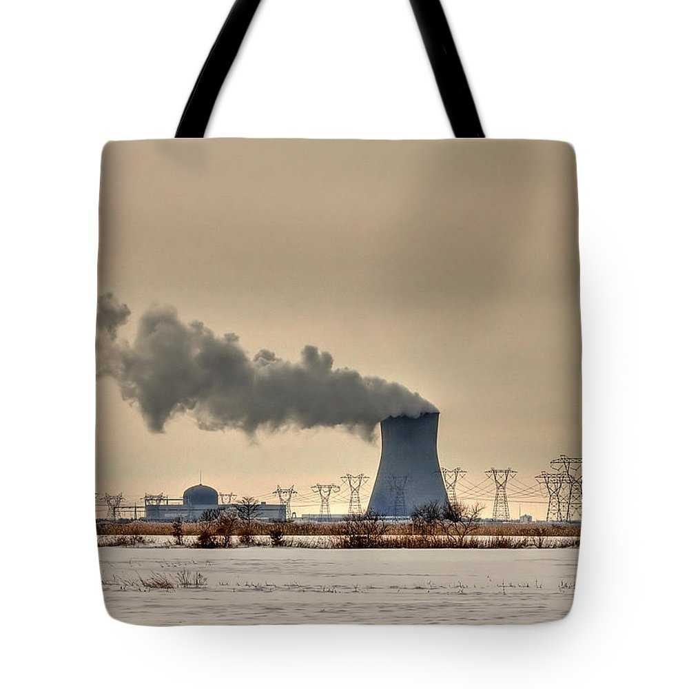 Clouds Tote Bag featuring the photograph Industrialscape by Evelina Kremsdorf