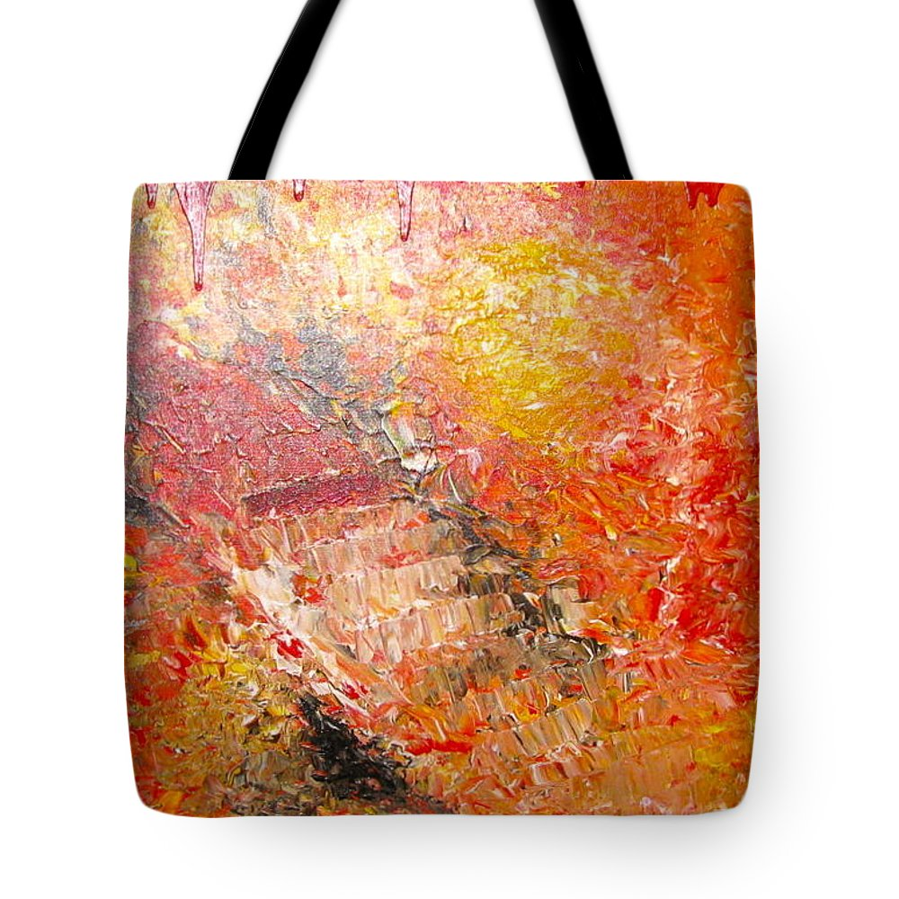 Red Tote Bag featuring the painting Inferno by Jacqueline Athmann