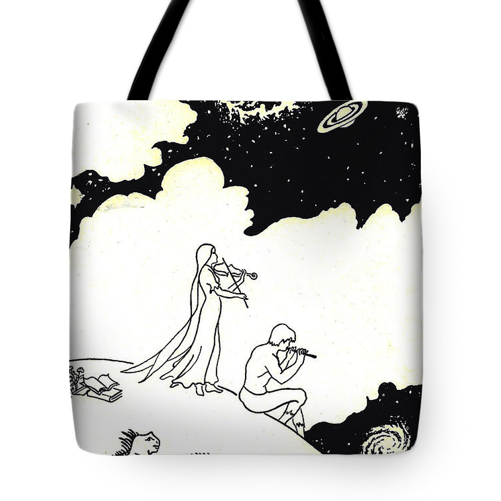 Universe Tote Bag featuring the drawing Infinity by Dawn Senior-Trask