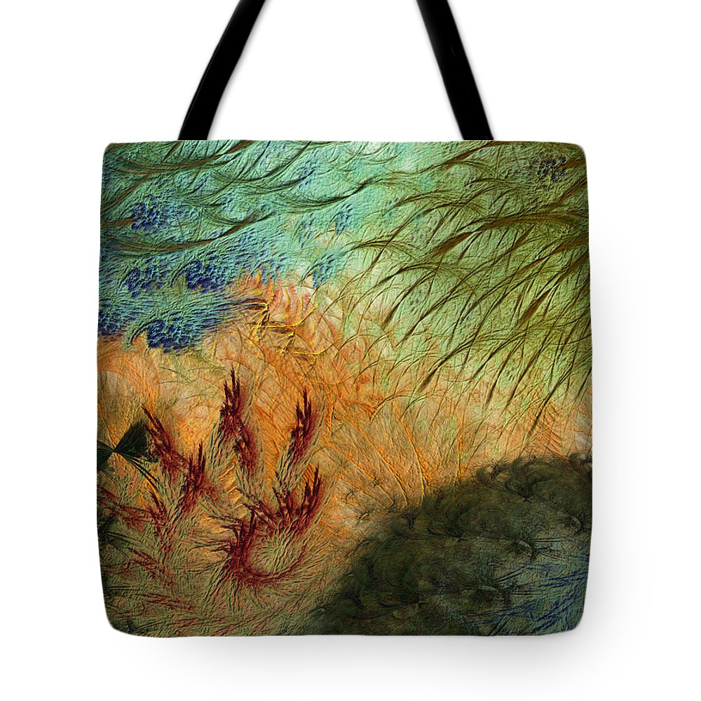 Abstract Tote Bag featuring the digital art Inflammation by Casey Kotas